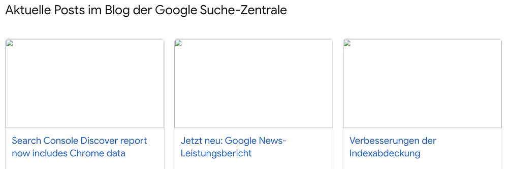 """Aktuelle Posts im Blog der Google-Such-Zentrale; The Search Console Discover report. From the ongoing series """"As seen on screen"""""""