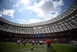General view of Russia players during a training session inside the Luzhniki Stadium in Moscow
