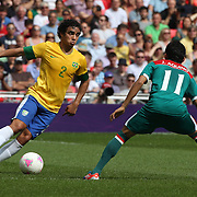 Rafael, Brazil, in action during the Brazil V Mexico Gold Medal Men's Football match at Wembley Stadium during the London 2012 Olympic games. London, UK. 11th August 2012. Photo Tim Clayton