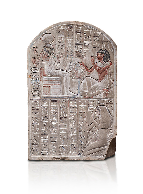 Ancient Egyptian stele dedicated to the god Khonsu by draftsman Pay, limestone, New Kingdom, 19th Dynasty, (1279-1213 BC), Deir el-Medina, ODrovetti cat 1553. Egyptian Museum, Turin. white background, .<br /> <br /> If you prefer to buy from our ALAMY PHOTO LIBRARY  Collection visit : https://www.alamy.com/portfolio/paul-williams-funkystock/ancient-egyptian-art-artefacts.html  . Type -   Turin   - into the LOWER SEARCH WITHIN GALLERY box. Refine search by adding background colour, subject etc<br /> <br /> Visit our ANCIENT WORLD PHOTO COLLECTIONS for more photos to download or buy as wall art prints https://funkystock.photoshelter.com/gallery-collection/Ancient-World-Art-Antiquities-Historic-Sites-Pictures-Images-of/C00006u26yqSkDOM