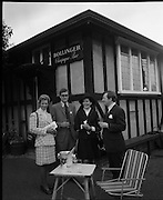 The Bollinger Bar at Phoenix Park..1972..07.10.1972..10.07.1972..7th October 1972..As part of the Phoenix Park races Bollinger opened a bar to facilitate the Champagne tastes of the racegoers...Image of Mrs Noel Cautley, Mr Colin Foster,Director,Irish Vitners Ltd, Mrs Raymond O'Keefe and Mr Tom Whelehan,Director,Irish Vitners Ltd in front of the Bollinger Champagne bar at the Phoenix Park racecourse.