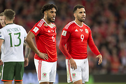 October 9, 2017 - Cardiff City, Walles, United Kingdom - Hal Robson-Kanu and Ashley Williams of Wales during the FIFA World Cup 2018 Qualifying Round Group D match between Wales and Republic of Ireland at Cardiff City Stadium in Cardiff, Wales, United Kingdom on October 9, 2017  (Credit Image: © Andrew Surma/NurPhoto via ZUMA Press)