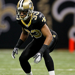 January 7, 2012; New Orleans, LA, USA; New Orleans Saints cornerback Jabari Greer (33) against the Detroit Lions during the 2011 NFC wild card playoff game at the Mercedes-Benz Superdome. Mandatory Credit: Derick E. Hingle-US PRESSWIRE