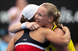 January 11, 2019 - Sydney, NSW, U.S. - SYDNEY, AUSTRALIA - JANUARY 11: Ashleigh Barty (AUS) and Kiki Bertens (NED) hug after the game at The Sydney International Tennis on January 11, 2018, at Sydney Olympic Park Tennis Centre in Homebush, Australia. (Photo by Speed Media/Icon Sportswire) (Credit Image: © Steven Markham/Icon SMI via ZUMA Press)