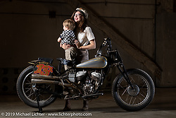 """Brittney Olsen with her son Lock and her 1938 Indian Sport Scout """"The Spirit of Sturgis"""" at the Handbuilt Show. Austin, TX. USA. Friday April 20, 2018. Photography ©2018 Michael Lichter."""
