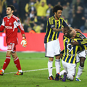 Fenerbahce's Moussa Sow (R) celebrate his goal with team mate during their Turkish superleague soccer derby match Fenerbahce between Besiktas at Sukru Saracaoglu stadium in Istanbul Turkey on Sunday 05 February 2012. Photo by TURKPIX