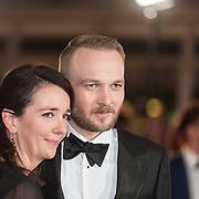 NLD/Amsterdam/20171012 - Televizier-Ring Gala 2017, Arjen Lubach en partner