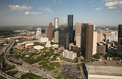 Southwestern aerial view of downtown Houston, Texas skyline.