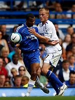 Photo: Richard Lane/Sportsbeat Images. <br />Chelsea v Birmingham. Barclay's Premiership. 12/08/2007. <br />Birmingham's Sebastian Larsson fouls Chelsea's Ashley Cole.
