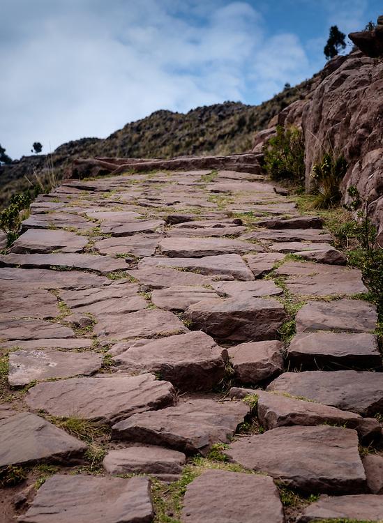 TAQUILE, PERU - CIRCA OCTOBER 2015:  Path in the Island of Taquile in Lake Titicaca.