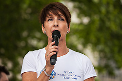 London, UK. 30 May, 2019. Anna Kennedy OBE, founder of UK autism charity AnnaKennedyonline, Autism's Got Talent and the Autism Hero Awards, addresses campaigners from SEND National Crisis attending a demonstration in Parliament Square to demand improvements in the diagnosis and assessment of young people with SEND, assistance for their families, funding and legal and financial accountability for local authorities in their treatment of young people with SEND and their families.