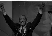 Fianna Fáil Ard Fheis.  (R97)..1989..25.02.1989..02.25.1989..25th February 1989..The Fianna Fáil Ard Fheis was held today at the RDS Main Hall, Ballsbridge, Dublin. An Taoiseach, Charles Haughey TD,gave the keynote speech of the event...An Tanaiste, Brian Lenihan TD, is pictured accepting the accolades from the conference floor at thr RDS.