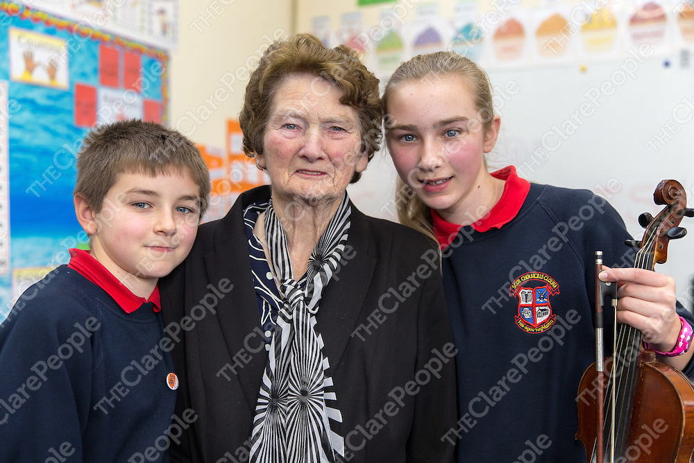 Cian and Caoimhe McMahon with their 82 year old grandmother Josie O'Connor from Ennistymon