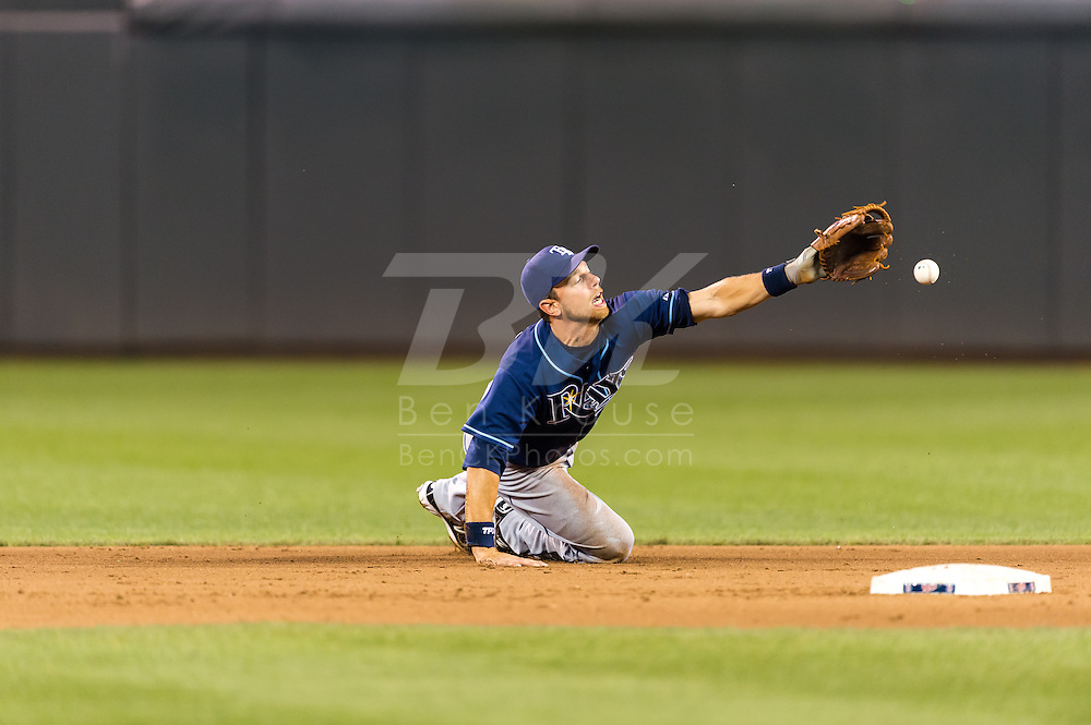 Ben Zobrist (18) flips the ball to 2nd base after making a diving stop during a game against the Minnesota Twins on August 10, 2012 at Target Field in Minneapolis, Minnesota.  The Rays defeated the Twins 12 to 6.  Photo: Ben Krause