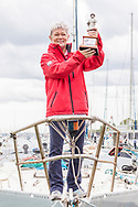 Tracy Edwards MBE with Beefeater trophy on board Maiden, the boat that made history 27 years ago.<br /> <br /> Tracy Edwards MBE and crew reunited with Maiden 27 years after sailing into the history books. Maiden and her all-female crew competed in the Whitbread Round The World Race in 1989/90 winning two legs and coming second overall. Over the next 12 months, Maiden will be restored in Hamble near Southampton. She will then sail around the world as an ambassador for the Maiden Factor, to promote access to education for girls.<br /> Picture date: Monday April 24, 2017.<br /> Photograph by Christopher Ison © Empics<br /> 07544044177<br /> chris@christopherison.com<br /> www.christopherison.com