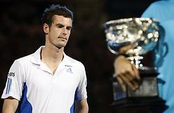Jan. 31, 2010 - Melbourne, Australia - Andy Murray of Great Britain reacts during the awarding ceremony for men's singles in 2010 Australian Open Tennis Championship at Rod Laver Arena in Melbourne Park, Jan.31, 2010. Andy Murray lost 0-3 in the final to Roger Federer of Switzerland. (Credit Image: © Xinhua via ZUMA Wire)