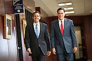 Gov. Mitt Romney walks with Gov. Tim Pawlenty on September 12, 2011 in North Charleston, South Carolina.  Pawlenty who quit the Republican nomination last month endorsed Romney for President.