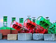 Alaska, Homer, Homer Spit, Winter storage of sea buoys.
