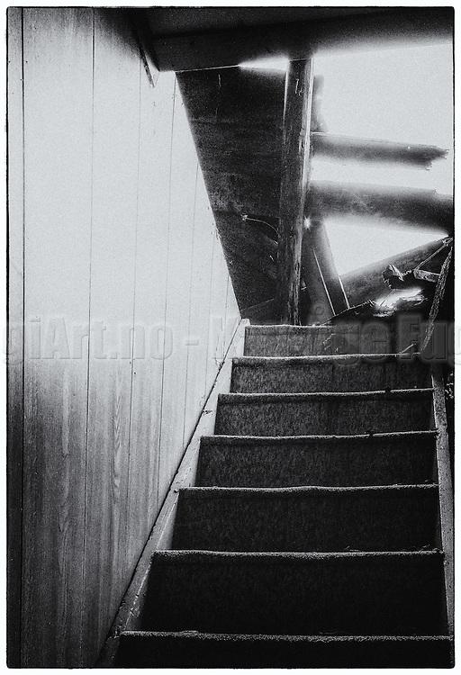 A stairway in a old damaged house, with light falling in from above | En trapp i et gammelt falleferdig hus, med lys som faller inn ovenfra.