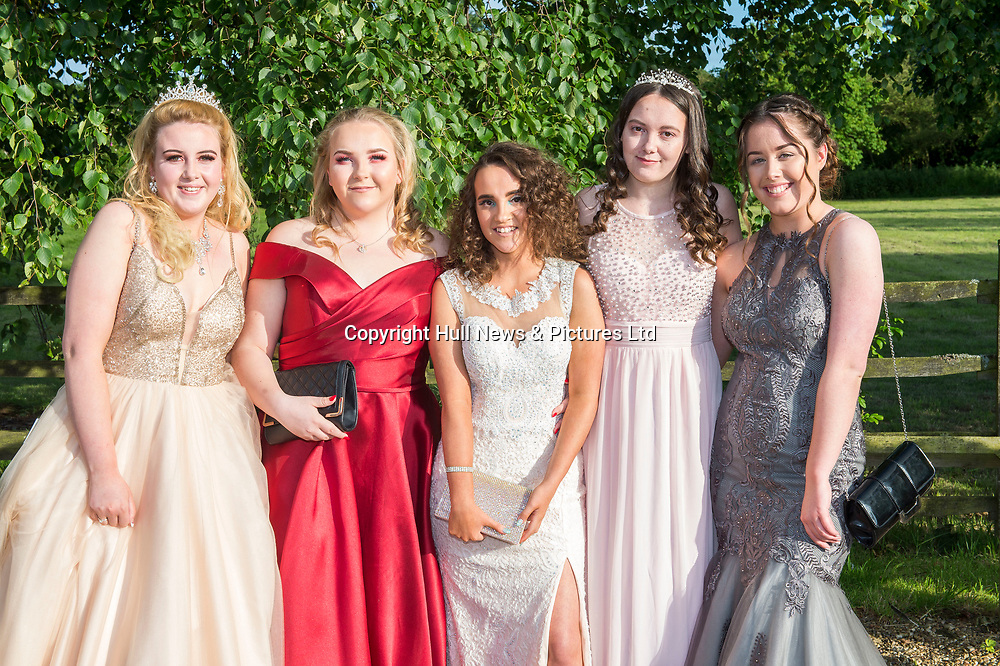 20 June 2019: Cleethorpes Academy Year 11 Prom at Brackenborough Hotel near Louth.<br /> (l-r) Brogan Jones, Ellie Bell, Beth Downes, Holly Giles and Kasey Perkins. <br /> Picture: Sean Spencer/Hull News & Pictures Ltd<br /> 01482 210267/07976 433960<br /> www.hullnews.co.uk         sean@hullnews.co.uk