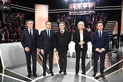 Francois Fillon, Emmanuel Macron, Jean Luc Melenchon, Marine Le Pen and Benoit Hamon during the first televised debate ' le grand debat ' on TF1 for the French presidential 2017 election in Paris, France on March 20, 2017. Photo by Eliot Blondet/ABACAPRESS.COM