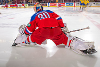 KELOWNA, BC - DECEMBER 18:  Daniil Tarasov #30 of Team Russia stretches on the ice during warm up against the Team Sweden at Prospera Place on December 18, 2018 in Kelowna, Canada. (Photo by Marissa Baecker/Getty Images)***Local Caption***
