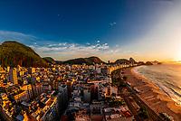 High angle view of Copacabana Beach,with Sugarloaf Mountain behind, Rio de Janeiro, Brazil.