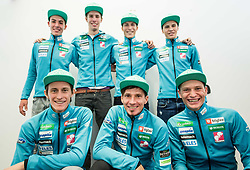 Men Ski Jumping team (L-R): Timi Zajc, Peter Prevc, Anze Semenic, Robert Kranjec, Jurij Tepes, Tilen Bartol and Anze Lanisek Zaba during press conference of Slovenian Nordic Ski team before new season 2017/18, on November 14, 2017 in Gorenje, Ljubljana - Crnuce, Slovenia. Photo by Vid Ponikvar / Sportida