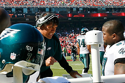12 Oct 2008: Coach Juan Castillo speaks to players in the bench area during the game against the San Francisco 49ers on October 12th, 2008. The Eagles won 40-26 at Candlestick Park in San Francisco, California. (Photo by Brian Garfinkel) (Photo by Brian Garfinkel)