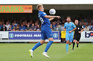 AFC Wimbledon striker Joe Pigott (39) controlling ball on his chest during the EFL Sky Bet League 1 match between AFC Wimbledon and Coventry City at the Cherry Red Records Stadium, Kingston, England on 11 August 2018.