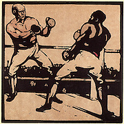 November - Boxing.   Two gloved boxers confronting each other in the ring. Coloured woodblock from 'An Almanac of Twelve Sports', designs by William Nicholson with words by Rudyard Kipling (London, 1898).