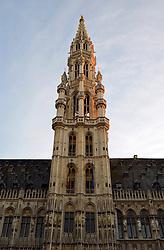 THEMENBILD - Brüssel ist die Haupt- und Residenzstadt des Königreichs Belgien, Sitz der Institutionen der Flämischen und Französischen Gemeinschaft Belgiens sowie von Flandern und Hauptort der Region Brüssel-Hauptstadt. Zudem stellt die Stadt den Hauptsitz der Europäischen Union sowie den Sitz der NATO, ferner den des ständigen Sekretariats der Benelux-Länder, der Westeuropäischen Union und der EUROCONTROL, hier im Bild Abendstimmung, Rathausturm, Rathaus, Hotel de Ville, Grote Markt, Grand Place, UNESCO Weltkulturerbe aufgenommen am 28. Juli 2013 // THEMES PICTURE - Brussels is the capital and residence city of the Kingdom of Belgium, the seat of the institutions of the Flemish and French Community of Belgium and the capital of Flanders and Brussels-Capital Region. In addition, the city is the headquarters of the European Union, and the headquarters of NATO, also the Permanent Secretariat of the Benelux countries, the Western European Union and EUROCONTROL pictured on 28th of July 2013. EXPA Pictures © 2013, PhotoCredit: EXPA/ Eibner/ Michael Weber<br /> <br /> ***** ATTENTION - OUT OF GER *****