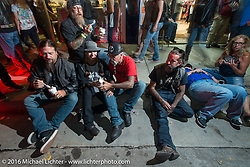 Randy Noldge, Milwaukee Mike, Debi and Reed Holmes and Chopper Charlie enjoying icecream on Main Street during the annual Sturgis Black Hills Motorcycle Rally.  SD, USA.  August 8, 2016.  Photography ©2016 Michael Lichter.