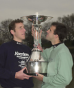 Putney LONDON<br /> <br /> Photo Peter Spurrier<br /> 2002 Boat Race <br /> 04/03/2002<br /> Crew Announcement<br /> 2002 Varsity presidents Left Oxford's Benjamin J Burch and Thomas (tom) Stallard. look up into the Aberdeen Asset Management Trophy [Mandatory Credit:Peter SPURRIER/Intersport Images] 2002 0304 Boat Race, [Varsity], Crew announcement 2002 0304 University Boat Race, Crew announcement, Putney. London.