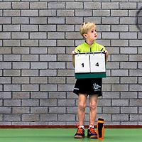 Rookie serie.<br /> Nederland, Hoorn, 11-10-2015.<br /> Badminton HBV Open Jeugd Toernooi U8, Hoorn<br /> ( Let op : HBV is verenigingsnaam dus hoort er bij ! )<br /> Foto : Klaas Jan van der Weij