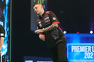 Nathan Aspinall reaction to a missed shot during the PDC Unibet Premier League darts at Marshall Arena, Milton Keynes, United Kingdom on 28 May 2021.