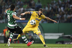 October 31, 2017 - Lisbon, Portugal - Juventus's forward Gonzalo Higuain vies with Sporting's midfielder Marcos Acuna during the Champions League  football match between Sporting CP and Juventus FC at Jose Alvalade  Stadium in Lisbon on October 31, 2017. (Credit Image: © Carlos Costa/NurPhoto via ZUMA Press)