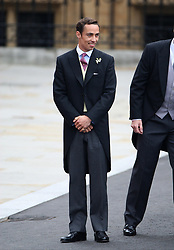 James Middleton arrives at Westminster Abbey ahead of the wedding between Prince William and his sister Kate Middleton.