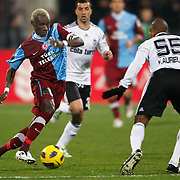 Trabzonspor's Ibrahima YATTARA (L) during their Turkey Cup Group B matchday 5 soccer match Besiktas between Trabzonspor at the Inonu stadium in Istanbul Turkey on Wednesday 26 January 2011. Photo by TURKPIX