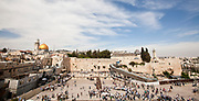 Israel Jerusalem Wailing Wall with the gilded Dome of the rock in the background