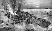 Russo-Japanese War 1904-1905:  Russian cruiser foundering at the Battle of Cehmulpo, 9 February 1904.