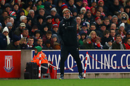 Liverpool Manager Jurgen Klopp shouts instructions from the touchline. Premier league match, Stoke City v Liverpool at the Bet365 Stadium in Stoke on Trent, Staffs on Wednesday 29th November 2017.<br /> pic by Chris Stading, Andrew Orchard sports photography.