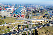 Nederland, Zuid-Holland, Rotterdam, 18-02-2015. A15 en knooppunt Benelux. Infrastructuur bundel, kruising Betuweroute en A15, metro en leidingenviaduct. Ccontainerterminal van ECT. <br /> Motorway A15 junction, connecting Port of Rotterdam with hinterland. Freight railway, subway, pipe overpass. Shortsea hub. <br /> luchtfoto (toeslag op standard tarieven);<br /> aerial photo (additional fee required);<br /> copyright foto/photo Siebe Swart