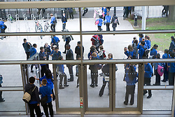 Students leaving the School Building at the end of the day,