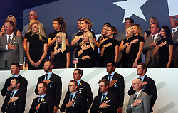 Team USA teams wives and girlfriends with the players below during the Ryder Cup Opening Ceremony at Le Golf National, Saint-Quentin-en-Yvelines, Paris.