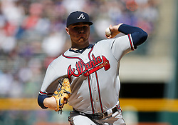 April 8, 2018 - Denver, CO, U.S. - DENVER, CO - APRIL 08: Atlanta Braves Starting Pitcher Sean Newcomb (15) pitches during the first inning of a regular season MLB game between the Colorado Rockies and the visiting Atlanta Braves on April 8, 2018 at Coors Field in Denver, CO. (Photo by Russell Lansford/Icon Sportswire) (Credit Image: © Russell Lansford/Icon SMI via ZUMA Press)