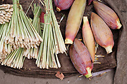 Lemongrass and banana flowers for sale at Khua Din morning market in Vientiane city, Lao PDR. A large variety of local products are available for sale in fresh markets all over Laos, all being sold on small individual stalls. Talat Khua Din is a traditional Lao market close to Vientiane city centre and is currently under threat from the construction of a shopping mall.