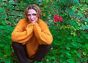 "British actress Caroline Goodall, in her garden in Laurel Canyon, LA. We've seen her in ""Schindler's List"" and ""Hook"", and now ""Disclosure""."