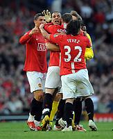 Wayne Rooney Celebrates Scoring 4th goal with team mates Rio Ferdinand / Carlos Tevez and Crisitano Ronaldo<br /> Manchester United 2008/09<br /> Manchester United V Tottenham Hotspur (5-2) 25/04/09<br /> The Premier League<br /> Photo Robin Parker Fotosports International