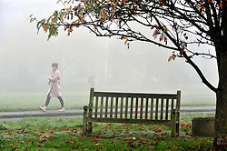© Licensed to London News Pictures. 02/11/2015<br />  Misty and Foggy weather at Chislehurst Common,Chislehurst  Kent, This morning (02.11.2015). The fog is set to clear by midday.<br /> (Byline:Grant Falvey/LNP)